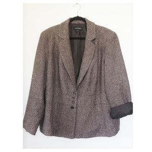LANE BRYANT Brown Tweed Blazer 24